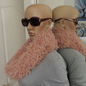 Dusty Pink Faux Fur Infinity Scarf